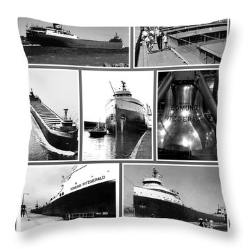 Edmund Fitzgerald Black And White Throw Pillow