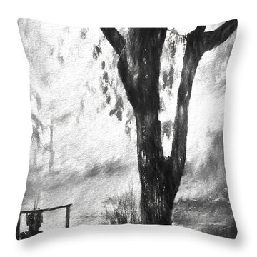 Tree In The Mist Throw Pillow