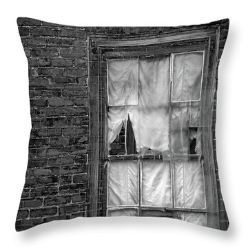 Eerie Curtains Throw Pillow