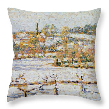 Effect Of Snow At Eragny Throw Pillow by Camille Pissarro