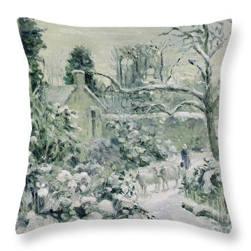 Effect Of Snow With Cows At Montfoucault Throw Pillow by Camille Pissarro
