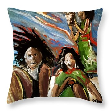 Egg In The Sky Throw Pillow by Helen Syron