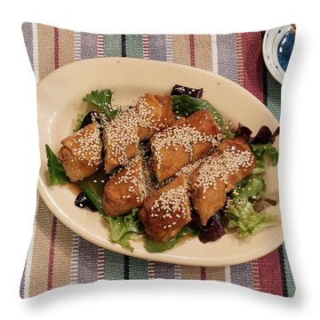 Egg Rolls And Sesame Throw Pillow by Jana Russon