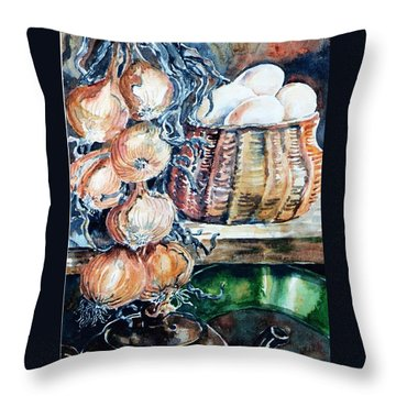 Throw Pillow featuring the painting Eggs And Onions In The Larder  by Trudi Doyle