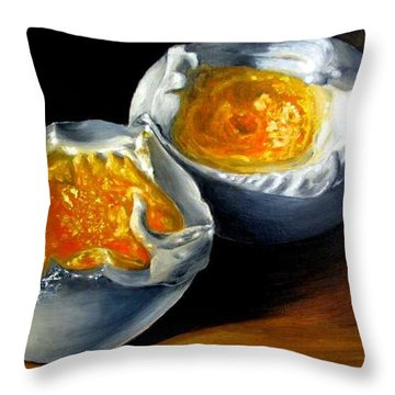 Eggs Contemporary Oil Painting On Canvas  Throw Pillow by Natalja Picugina