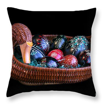 Eggs In A Goose Basket Throw Pillow by E B Schmidt