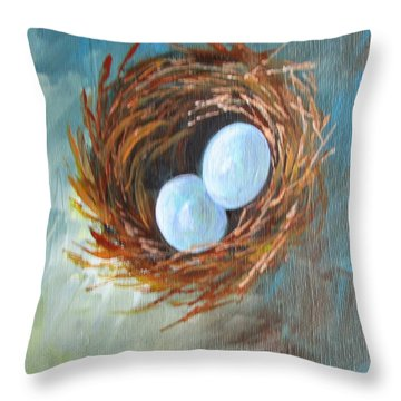 Eggs In A Nest Throw Pillow