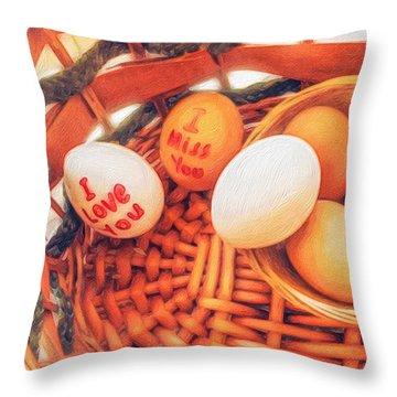 Eggs In A Wooden Basket Throw Pillow