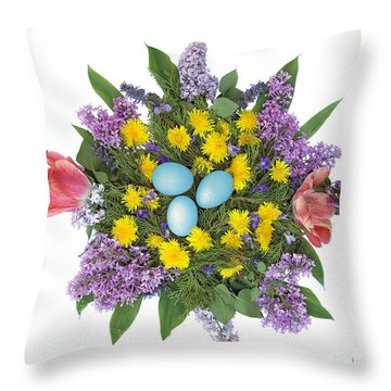 Eggs In Dandelions, Lilacs, Violets And Tulips Throw Pillow