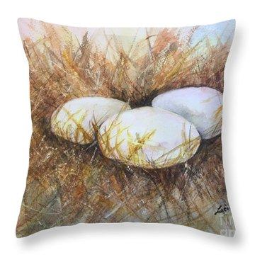 Eggs On Straw Throw Pillow