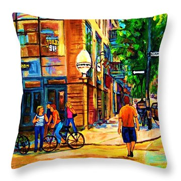 Throw Pillow featuring the painting Eggspectation Cafe On Esplanade by Carole Spandau