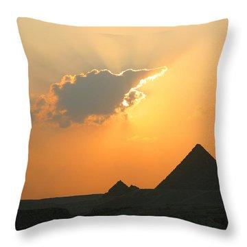 Egpytian Sunset Behind Cloud Throw Pillow