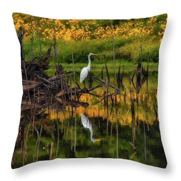 Egret Art  Throw Pillow