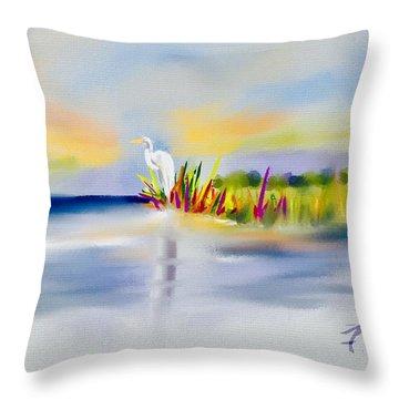 Egret Bliss Throw Pillow