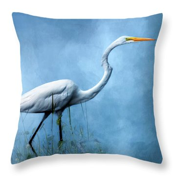 Egret Throw Pillow by Cyndy Doty