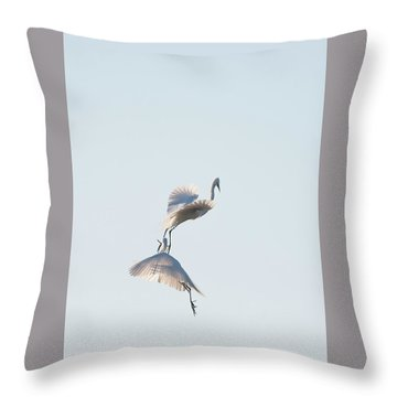Egret Dance 2 Throw Pillow by Catherine Lau