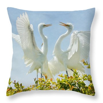 Egret Dance Throw Pillow