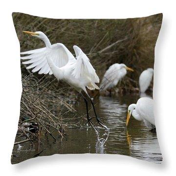 Egret Exit Throw Pillow
