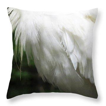 Egret Feeling Ruffled Throw Pillow