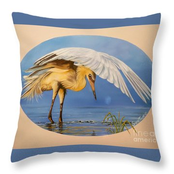 Chloe The  Flying Lamb Productions                  Egret Fishing Throw Pillow