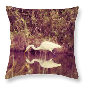Egret In Abstract Throw Pillow