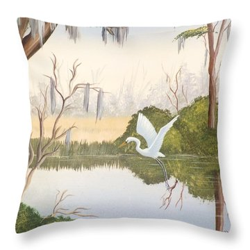 Egret In Flight 1 Throw Pillow by Denise Fulmer