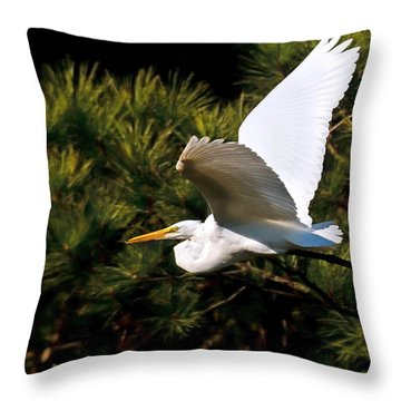 Egret In Flight 1 Throw Pillow by Lara Ellis