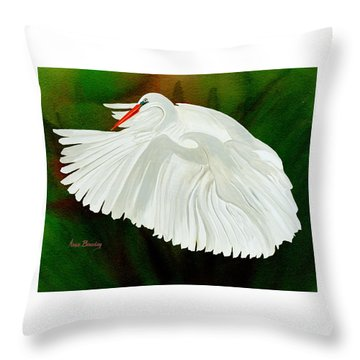 Throw Pillow featuring the painting Egret In Flight by Anne Beverley-Stamps