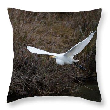 Egret In Flight Throw Pillow