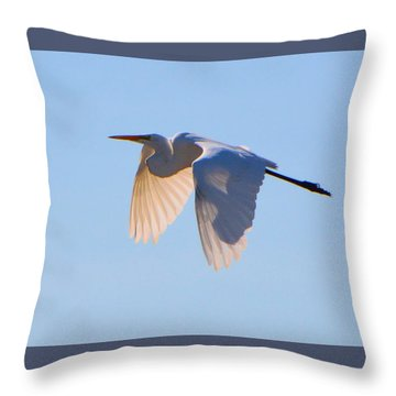 Egret In Silhouette Throw Pillow