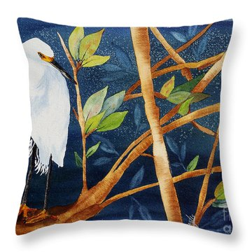 Egret In The Mangroves  Throw Pillow