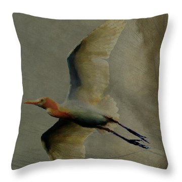 Throw Pillow featuring the digital art Egret by Jean Moore
