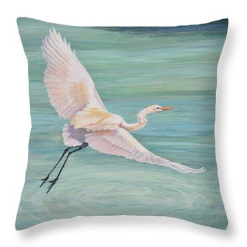 Throw Pillow featuring the painting Egret by Jeanette Jarmon