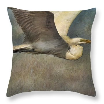 Egret Journey Throw Pillow
