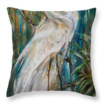 Egret Near Waterfall Throw Pillow