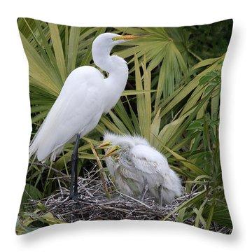 Egret Nest Throw Pillow