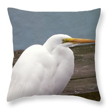 Egret On The Dock Throw Pillow by Al Powell Photography USA