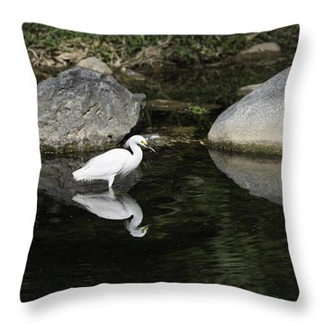 Egret Over Water Mirror Throw Pillow