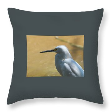 Egret Pose Throw Pillow