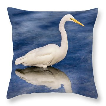 Egret Reflection On Blue Throw Pillow