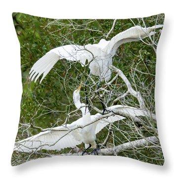 Egret Rumble Throw Pillow