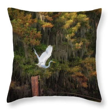 Egret Sanctuary Throw Pillow