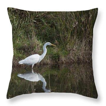 Egret Serenity Throw Pillow