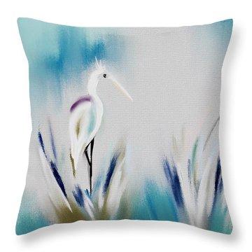 Egret Splash Throw Pillow by Frank Bright