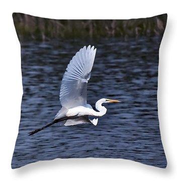 Egret Vi Throw Pillow by Gary Adkins
