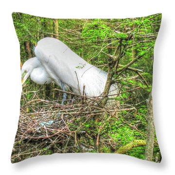 Egrets And Eggs Throw Pillow