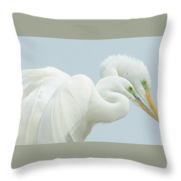 Egrets In Love 2 Throw Pillow