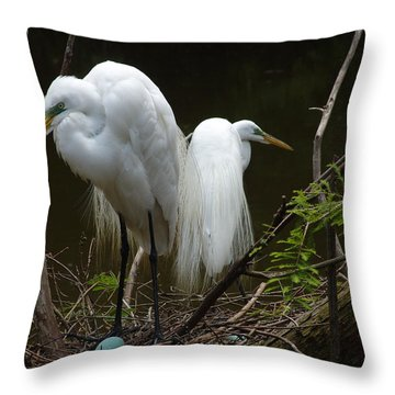 Egrets Throw Pillow