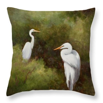 Egrets Roosting Throw Pillow