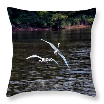 Egrets V Throw Pillow by Gary Adkins